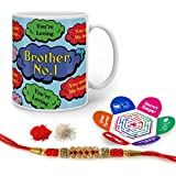 Raksha Bandhan Rakhi Gifts Hamper Designer Crystal Rakhi For Brother & Happy Raksha Bandhan Greeting Card Bro No. 1 Quote Printed Blue Mug 325 Ml - Gift For Bhai Bhaiya On His Birthday Anniversary Bhaidooj