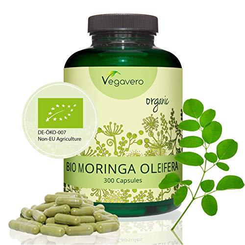 Vegavero BIO Moringa Oleifera | 300 CAPSULES | 1600 mg | Superfood: Proteins, Vitamins, Minerals and Omega 3 | Antioxidant + Stress + Cholesterol | NO ADDITIVES | Vegan