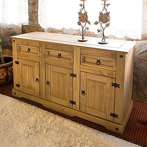 House of Cotswolds Buffet à 3 portes et 3 tiroirs en pin ciré effet vieilli