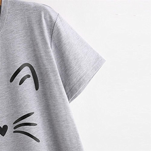 Kword Camicia Donna, Donna Moda Casual Manica Corta O-Collo Gatto Stampato Magliette Causale Camicetta Slim Fit Grigio