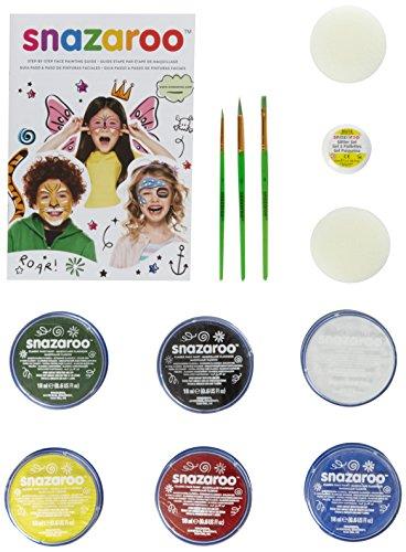 Schmink - Koffer, 6 Farben & Glittergel, 3 Pinsel, 2 Schwämmchen & Schminkbuch in englisch (Kindergarten-halloween-bücher)