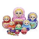 JQJPJOSIE 15 Pezzi/Set Bambole matrioska dipinte a Mano Bambola Babushka Bambole Russe di incastramento Giocattolo impilabile in Legno per Bambini Regalo Nessuna dissolvenza