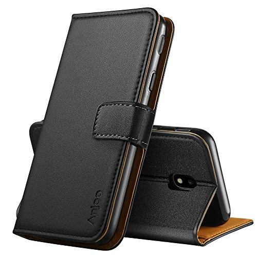 Anjoo Kompatibel für Samsung Galaxy J3 2017 Hülle, Handyhülle für Galaxy J3 2017 Schutzhülle, Tasche Leder Flip Case Brieftasche Etui mit Kartenfach & Ständer für Samsung J3 2017 (Schwarz)
