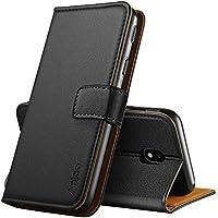 Anjoo Kompatibel für Samsung Galaxy J3 2017 Hülle, Handyhülle für Galaxy J3 2017 Schutzhülle, Tasche Leder Flip Case Brieftasche Etui mit Kartenfach und Ständer für Samsung J3 2017 (Schwarz)