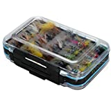 EDTara Dry Flies Bass Salmon Trouts Flies Nymph And Streamer Kit Waterproof Fly Box For Trout Fly Fishing Flies 64Pcs