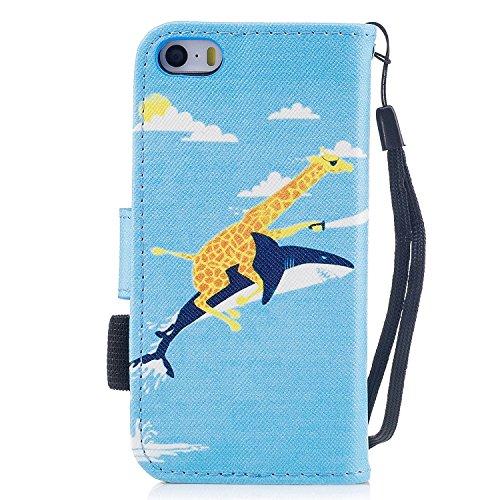 Custodia iphone SE / 5 / 5S Cover ,COZY HUT Flip Caso in Pelle Premium Portafoglio Custodia per iphone SE / 5 / 5S, Retro Animali di cartone animato Modello Design Con Cinturino da Polso Magnetico Sna Squalo di giraffa