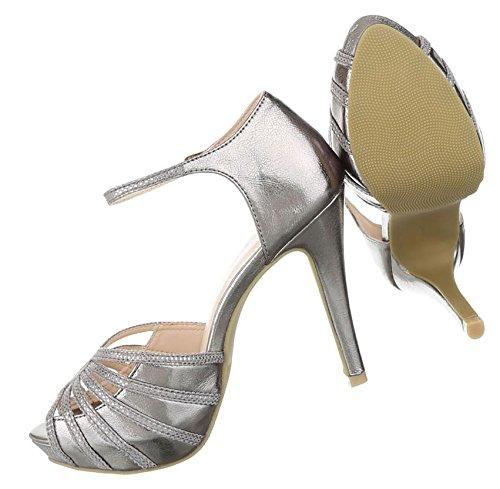Damen Sandaletten Schuhe High Heels Plateau Pumps Schwarz Silber 36 37 38 39 40 41 Silber