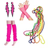 INNOBASE 1980 Fancy Dress Vestimentaires Néon Adult Tutu Jambières Gants Pink Fishnet Colliers et bracelets à perles fluorescentes Ensemble de 5 Années 80s Fête Accessoires for Girls Women Night Out Party (A6)