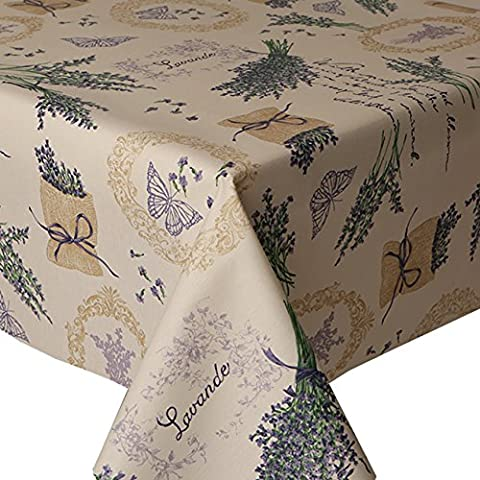 Acrylic Coated Tablecloth Lavender 3 Metres (300cm x 140cm), Floral Herb Sack Butterflies Writing, Latte Beige Purple Lilac Green, Acrylic & Teflon Coating Wipe Clean, Polycotton Table Cloth Linen
