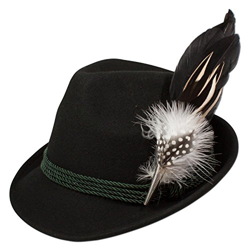 Alpenflüstern Damen Filzhut Trachtenhut Hahnenschlappenfeder ADV02600M00 schwarz