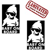 Set of 2 Vinyl Car Sticker Stickers with Baby on Board Child Safety Car Moto Motorcycle Bicycle Sunglasses Window Door Tuning