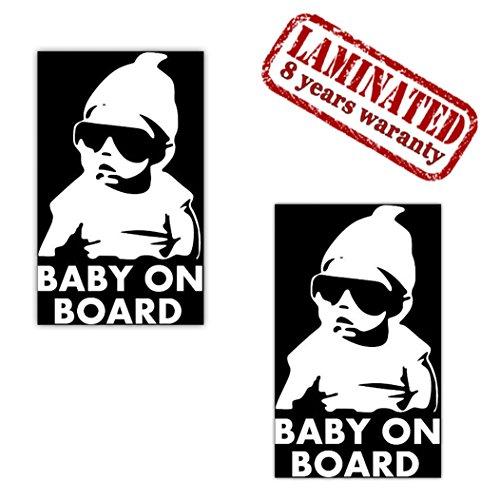 2 Stück Vinyl Aufkleber Autoaufkleber Stickers Baby On Board Kind Kinder an Bord Kind Sicherheit Auto Motorrad Fahrrad Fenster Tür B 172 - Aluminium-sicherheits-geldbörse