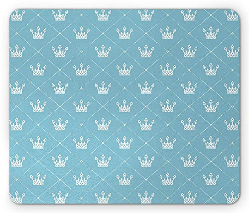 Queen Mouse Pad, Vintage Crown Silhouette with Rhombus Frames Ornate Heraldic Symbols of Royalty, Standard Size Rectangle Non-Slip Rubber Mousepad, Pale Blue White