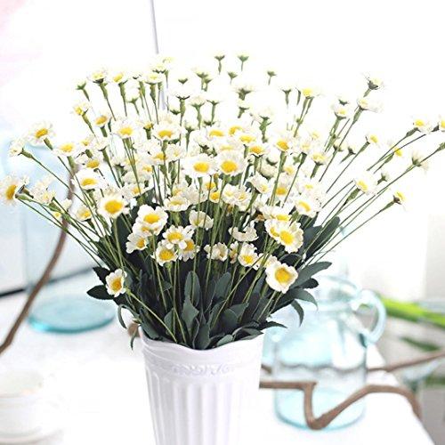 LuckyGirls Unechte Blumen,Künstliche Deko Blumen Gefälschte Blumen PE Kleine Daisy Blumenstrauß 15 Köpfe Braut Hochzeitsblumenstrauß für Haus Garten Party Blumenschmuck (Weiß)