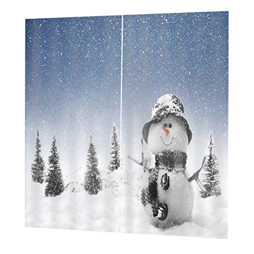 Homyl tende oscuranti 3d drappeggio pannello per soggiorno finestra camera da letto - pupazzo di neve (sfondo blu)