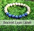 Bracelet lapis lazuli et perle de bois pour femme, pierre naturelle, lithothérapie, bracelet de guérison, idée cadeau anniversaire pour elle