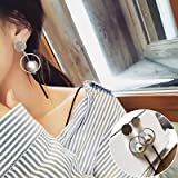 BAOZIV587 Aretes Cristal Moda Temperamento largas orejas colgantes, pendientes oreja se enrosca en el oído femenino ornamentos, Balón de Plata Plata