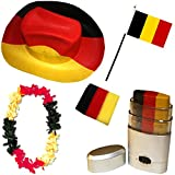 Sonia Originelli Fan Paket Fahne Flagge Schminkstift Cowboyhut Blumenkette Belgien Belgium schwarz rot gelb Flag BEL-SET-2