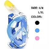 Maschera da Snorkel / Maschera per Snorkeling--easybreath maschera subacquea snorkeling/ immersioni/nuoto--180 gradi panoramici--Full Face Design di Respirazione Libera--maschere subacquee--Più anti-nebbia e anti-perdita-- Inserimento di 2 tubi respiratori-- Tappi per le orecchie incorporato e Previene il Gag Reflex