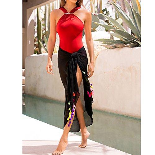 ... Damen Reizvoll Badeanzug Cocktail Rückenfrei Bademode Sonnenschutz  Sommer Cover Up Bikinis Strand Jumpsuits Rot ... 41f34b5394