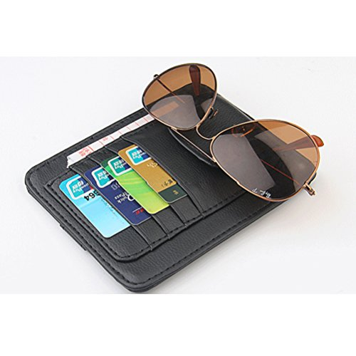 Zhhlaixing Auto Zubehör Durable PU Leather Sunglasses Holder with 4 Credit Cards Pockets Bills Cards Case Car Accessory