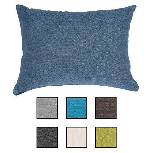 Sabeatex® Sofakissen super praktisch gefüllt mit einem 2teilig. Gästebett. Lounge Rückenkissen, Kopfkissen, Couch- oder Palettenkissen, Dekokissen Strukturpolsterstoff in 7 Unifarben für trendiges Wohndesign. Größe 60x80 cm Farbe: (Blau)