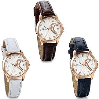 JewelryWe-Damen-Armbanduhr-Elegant-Charm-Semi-Herz-Analog-Quarz-Uhr-mit-Leder-Armband-Rose-Gold-Uhrgehuse-Blau-Braun-Weiss
