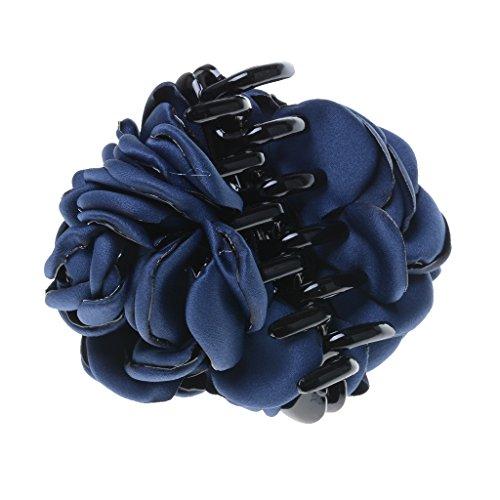 Mode Femme Bandeaux En Tissu Forme Fleur Grand Barrette Pince Claw Accessoires - Bleu foncé