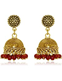 Spargz Party Wear Gold Plating Maroon Beads Jhumki Earrings For Women AIER 899