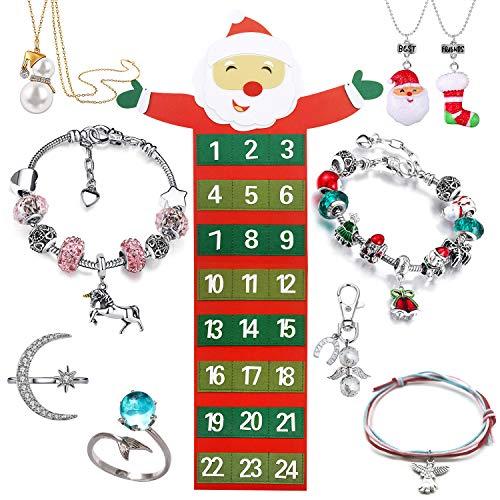 517dTaM1ljL - Adventskalender Santa mit 24 Schmuckteilen Einhorn Armband Kit Halskette Ringen Engel Schlüsselanhänger Weihnachtskalender für Mädchen