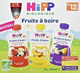 Hipp Biologique Gourdes Multipack Fruits a Boire 3 Varietes des 12 Mois, 8 Gourdes de 120 ml - Lot de 4