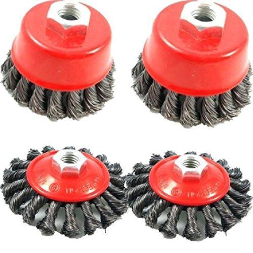Uwant Fashion Household 4pc Twist Nœud Semi Fil plat de roue de coupe Brosse de kit pour meuleuse d'angle de 115 mm