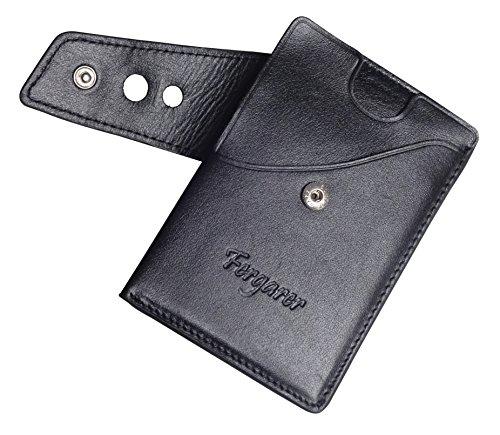 Fergarer Slim Wallet Echt Leder - Kleiner Geldbeutel mit Münzfach - Kreditkartenetui portemonnaie - Dünne Geldbörse, Brieftasche für Damen und Herren - Schwarz (Leder Schwarz Slim)