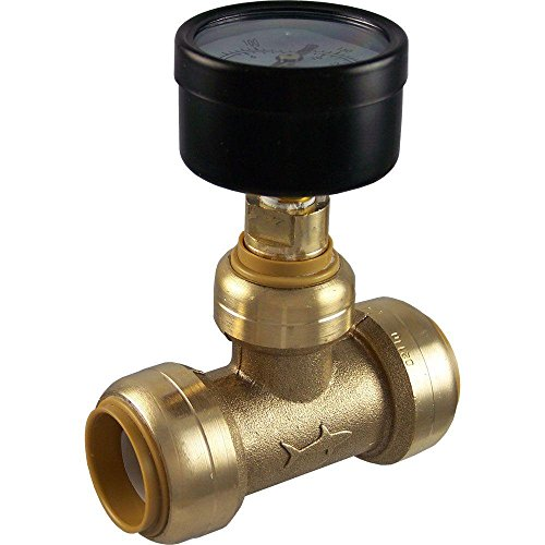 SharkBite 24438 Brass Push-to-Connect Tee with Water Pressure Gauge, 3/4 by Sharkbite