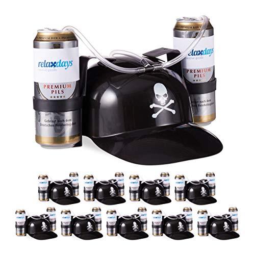 Relaxdays 10 x Trinkhelm Pirat, Helm mit Schlauch, für 2 Dosen Bier, Karneval Spaß Partyartikel, Totenkopf Bierhelm, schwarz
