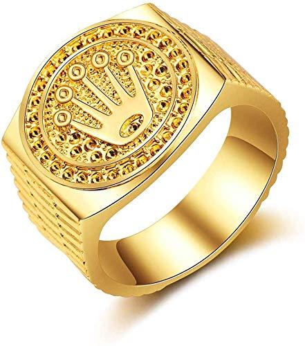 SEDUM Besondere & Art Bevorzugte Mode Hip Hop 18 Karat Gold Iced Out Crown Ring für Männer Engagement Hochzeit Ringe Schmuck für Geburtstag, Valentinstag, Jahrestag, 9