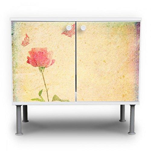 banjado - Badschrank 60x55x35cm Waschtisch Unterschrank weiß höhenverstellbar mit Motiv Romantik