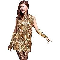 NiSeng Femme Latin Robe Tango Rumba Valse Salsa Pompons Vêtement De Danse Déguisement