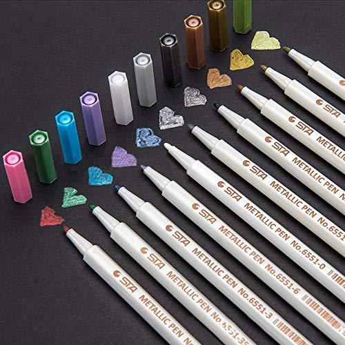 Metallic Marker Pens Wellehomi Satz von 10 Farben Metallic Marker Stifte ideal fürKartenherstellung und DIY Fotoalbum Gebrauch auf irgendeiner Oberfläche-Papier Glas Kunststoff Keramik