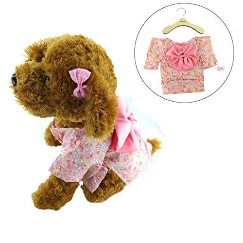 Newtensina 2017 Neues Haustierkleid Hundekleidung Kimono Design Kleid Welpenkleid f¨¹r Hund - einschlie?en eine nette rosa Haarclips und einen Kleiderb¨¹gel ein (Mops Kostüme 2017)