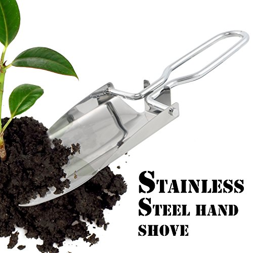 Stainless-Steel-Folding-Hand-Shovel-Trowel-Spade-Portable-Outdoor-Pocket-Survival-Shovel-for-Camping-Hiking-Backpacking-Gardening-Steel-Spade-with-Carrying-Pouch