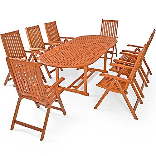 Deuba® Sitzgruppe Moreno 8+1 | FSC®-zertifiziertes Eukalyptusholz klappbar 9-TLG Tisch | Sitzgarnitur Holz Gartenmöbel