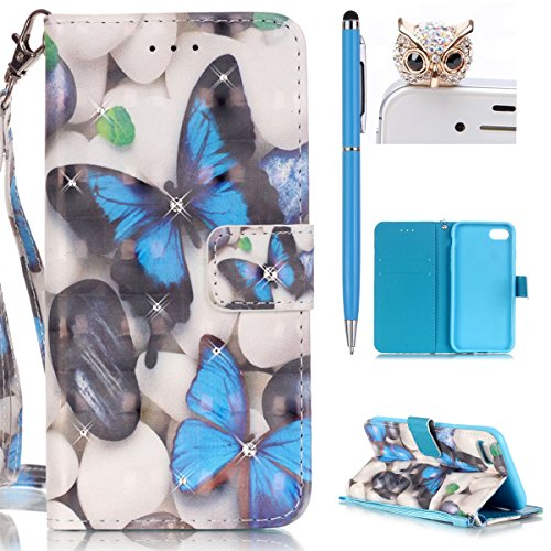 iPhone 7 Hülle,iPhone 7 Tasche iPhone 7 Case - Felfy Flip Bookstyle PU Ledertasche Strap Standfunktion Magnetverschluss Luxe Ledertasche Painted Muster Bunte Malerei Retro Painted Abdeckung Mit Standf Blue Butterfly Bling
