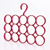 #10: House Of Quirk Single Piece 15-Circle Plastic Ring Hanger for Scarf, Shawl, Tie, Belt, Closet Accessory Wardrobe Organizer-Red