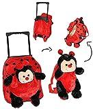 3 tlg Set: Trolley + Rucksack + Kuscheltier - Marienkäfer für Kinder - Tiere Trolly Kindertrolley Kindertrolly Plüsch - für Mädchen & Jungen - Plüschtrolley - Kuscheltier