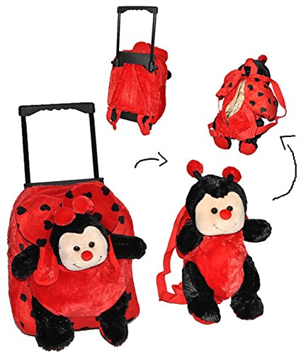 Unbekannt 3 TLG Set: Trolley + Rucksack + Kuscheltier - Marienkäfer für Kinder - Tiere Trolly Kindertrolley Kindertrolly Plüsch - für Mädchen & Jungen - Plüschtrolley -..