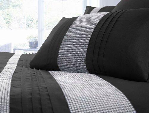 DOUBLE SIZE – BLACK & SILVER DIAMANTE FAUX SILK DUVET COVER BED SET by HOMEMAKER BEDDING