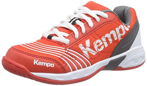 Kempa Unisex-Kinder STATEMENT ATTACK JUNIOR Handballschuhe, Mehrfarbig (fire red/grau/weiß), 28 EU