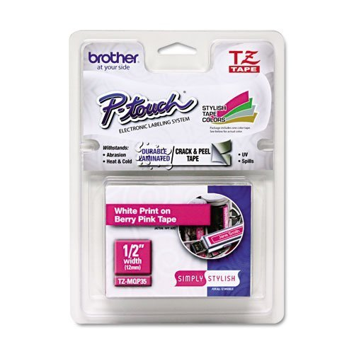 Brother Laminated Tape, 12mm (0.47 Inch), White on Berry Pink (TZeMQP35) - Retail Packaging by Brother Printer (English Manual)