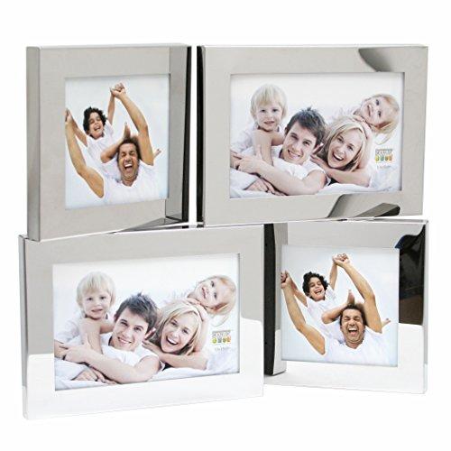 Deknudt Frames S67AH1E4 Cadre Quadruple tournable, 10x15 et 2 Photos 10x10, Métal, Argenté, 0x0